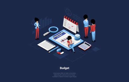 Cartoon Style Vector Illustration With Group Of People On Budget Planning Concept. Isometric 3D Composition Of Money Related Items And Different Characters Analysing It. Graphs, Charts, Infographics Vettoriali