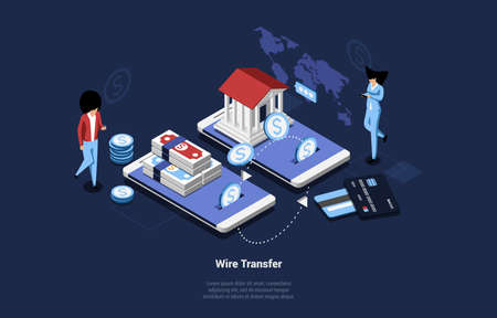Wireless Transfer Vector Illustration In Cartoon 3D Style With Writing. Isometric Composition On Mobile Internet Banking And Currency Exchange Concept. Two Smartphones Sharing Information, People Near