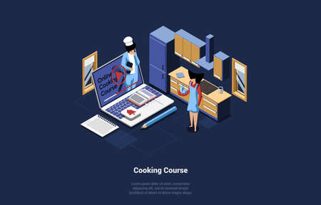 Online Cooking Course Conceptual Vector Illustration. Isometric Composition In Cartoon 3D Style Of Huge Laptop With Chef Video On Screen. Female Character Watching It And Studying. Kitchen Interior Çizim