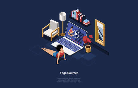 Online Yoga Courses Vector Cartoon Illustration In 3D Style. Isometric Composition On Dark Background Of Internet Studying Concept. Woman Excercising Near Big Laptop With Training Video On Screen Çizim