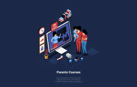 3D Illustration In Cartoon Style On Parents Online Courses Concept. Isometric Vector Composition Of Man, Woman And Child Watching Together Video On Screen Of Big Computer Monitor. Parenting Ideas Çizim