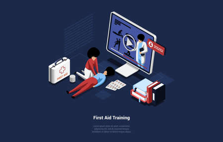 Online Course Of First Aid Training Vector Illustration In Cartoon 3D Style. Isometric Composition, Life Save And Healthcare Concept. People Learning Information And Practicing From Video On Computer