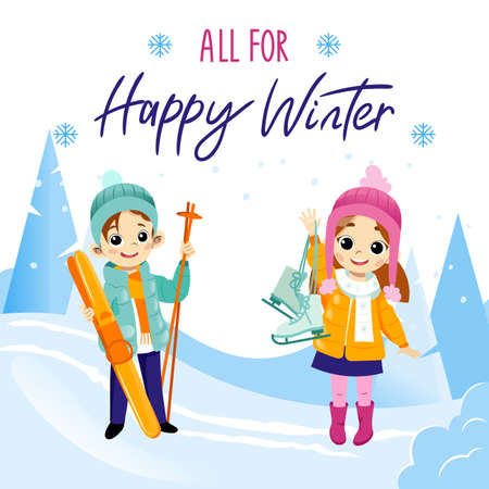 All For Happy Winter Writing On White Background. Cartoon Flat Vector Illustration In Placard. Colorful Comic Boy And Girl Characters Smiling, Holding Ski And Skates. Winter Activities And Leisure