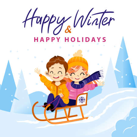 Happy Winter And Holidays Colourful Writing On Winter Forest Background. Vector Illustration In Cartoon Flat Style With Male And Female Children Characters Sledding Together From Hill. Friendship