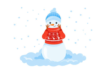 Colorful Vector Illustration In Cartoon Flat Style Of Happy Smiling Snowman Character In Sweater On White Background With Snowflakes. Cosy Winter Composition On Seasonal Holidays And Fests Concept Vektoros illusztráció