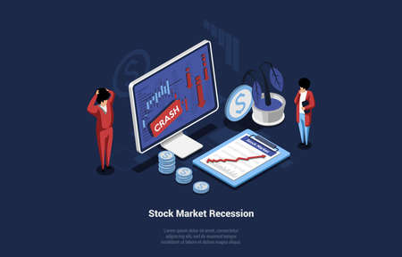 Isometric Vector Illustration Of Recession In Economy And Stock Market. Economic Crisis Concept On Dark Background. 3D Composition In Cartoon Style Of Shocked Businessmen Looking At Computer Screen