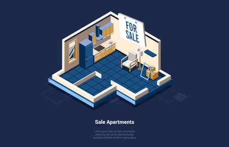 Sale House Or Apartments Concept Vector Illustration On Dark Background, Text. 3D Composition In Cartoon Style. Isometric Art Of Living Room And Kitchen Space. Real Estate Business, Moving Flat Ideas Ilustração