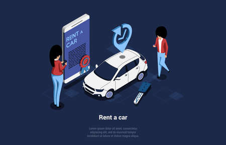 Car Renting Service, Mobile Application Conceptual Isometric Illustration With Two Characters. 3D Composition In Cartoon Style Of People Standing Near White Car And Big Mobilephone With Text On Screen
