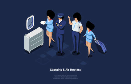 Captains And Air Hostess Characters Crew In Aeroplane. Vector Composition In Cartoon 3D Style. Isometric Illustration With People Dressed In Blue Uniform At Work. Aircraft Profession, Male And Female
