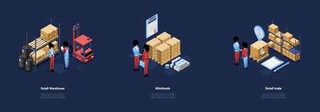 Three Warehouse Conceptual Illustrations In Cartoon 3D Style. Isometric Vector Compositions On Dark Background With Writings, Characters And Objects. Small Storage, Wholesale And Retail Trade Ideas Vector Illustration