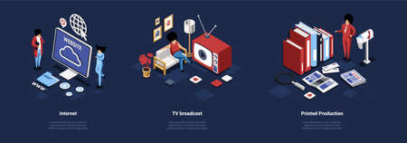 Mass Media Concept Illustration Of Three Different Compositions. Isometric Vector Art In Cartoon 3D Style. Ideas Of Internet Websites And Sources, TV Broadcast Shows And News And Printed Producrion
