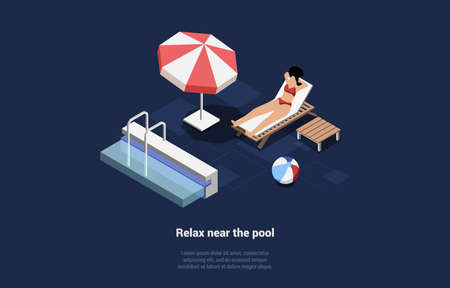 Woman Character In Swimwear Relaxing Near Pool Lying On Lounge Sunbathing. Beach Ball, Umbrella And Table Near. Isometric Vector Illustration On Dark Background With Text. 3D Composition In 3D Style