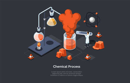 Chemical Process Vector Illustration Of Scientific Concept. Isometric Composition In Cartoon 3D Style With Laboratory Related Items And Male Character In White Robe Making Experiment With Formula