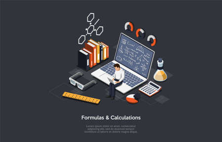 Vector Illustration With Formulas And Calculations Writings On Dark Background. Isometric Composition In Cartoon 3D Style With Scientist Character Sitting On Laptop. Books, Calculator, Flask, Ruler