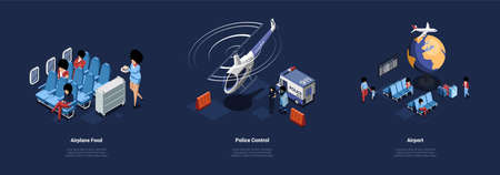 Set Of Three Different Airport Related Vector Illustrations In Cartoon 3D Style. Isometric Compositions On Dark Background. Airplane Food Service, safety Police Control And Airport Indoors Design