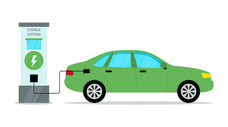 Electrical Automobile Charge Station Conceptual Illustration In Cartoon Flat Style. Vector Composition With Green Car Filling With Energy. Modern Ecology Friendly Transport Means And Environment Care