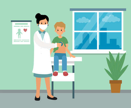 Pediatrician Care Clinic Cabinet Interior Design. Vector Illustration In Flat Cartoon Style. Composition With Two Characters. Female Doctor In Face Mask Doing Medical Examination Of Boy. Healthcare