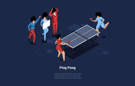 Two Ping Pong Players Vector Illustration. Isometric Composition In Cartoon 3D Style On Dark Background With Writing. People In Uniform Playing Game With Rackets, Ball And Table. Tennis Active Sport