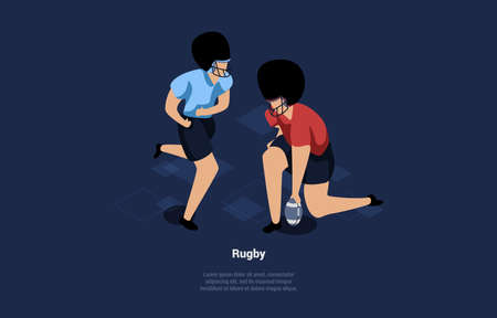 Rugby Players, Dark Background With Writings. Isometric Illustration In Cartoon 3D Style Of Active Sports Concept. Composition With Two Male Characters In Blue And Red Uniform And Helmets Playing Game