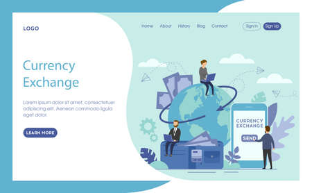Vector Illustration With Currency Exchange Writing. Website Interface Layout Composition In Flat Cartoon Style. Characters With Gadgets Working Near Big Telephone, World Globe And Wallet With Money