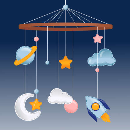 Vector Illustration In Flat Cartoon Style With Gradients And Elements. Colourful Composition On Blue Background. Newborn Hanging Pendants, Bed And Bedroom Decoration. Clouds, Stars, Rocket And Planet
