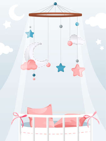 Vector Illustration In Flat Cartoon Style With Gradients And Elements. Cosy Colourful Composition On Light Background. Newborn Child Theme. Pink Bed Decorated With Hanging Pendants For Baby Girl Kid Ilustración de vector