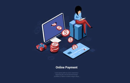 Illustration Of Online Payment Concept. Vector Composition, Cartoon 3D Style. Isometric Art, Dark Background With Text And Objects. Woman Sitting On Gift Box Near Computer Screen, Credit Card, Coins