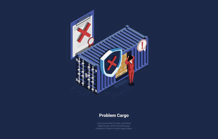 Vector Illustration In Cartoon 3D Style. Isometric Composition On Dark Background With Text And Objects. Problem Cargo Concept Design. Shocked Male Worker Near Warehouse Storage Of Boxes, Decline Mark