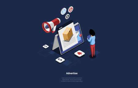 Advertisement, Promotion Concept Design, Cartoon 3D Style. Vector Illustration On Dark Background. Isometric Composition With Writings. Tablet PC With Product Parcel On Screen, Character Standing Near
