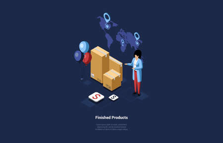 Finished Products Conceptual Design In Cartoon 3D Style. Vector Illustration On Dark Background. Isometric Composition With Writings. Character Standing Near Parcels In Boxes. Small Business Goods Illustration