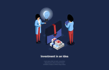 Investment In Idea Conceptual Design In Cartoon 3D Style. Vector Illustration On Dark Background. Isometric Composition With Writings. Two Characters Standing Near Suitcase, Money And Blue Light Bulb Illustration