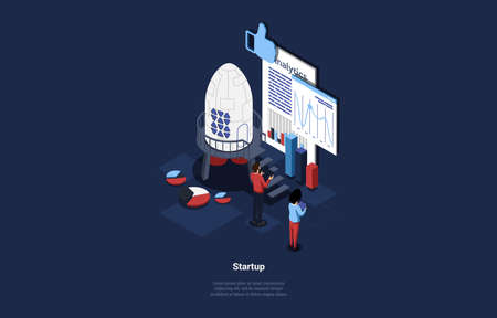 Isometric Illustration On Dark Background. Cartoon Style 3D Composition With Characters And Objects. Business Startup Concept Design. People Standing Near Graphs And Charts. Big Rocket And Boards Illustration
