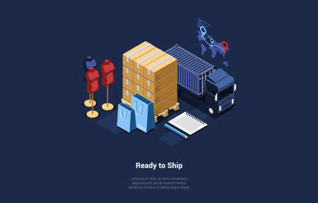 Vector Illustration Of Products Or Clothes Ready To Ship Concept. Isometric Composition In Cartoon 3D Style. Dark Background, Text And Design Elements. Parcels, Mannequins, Shopping Bags And Big Truck