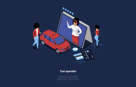 Vector Illustration Of Taxi Company App Operator Concept. Isometric Composition In Cartoon 3D Style. Dark Background And Design Elements. Woman Standing Near Auto, Worker Character On Tablet PC Screen