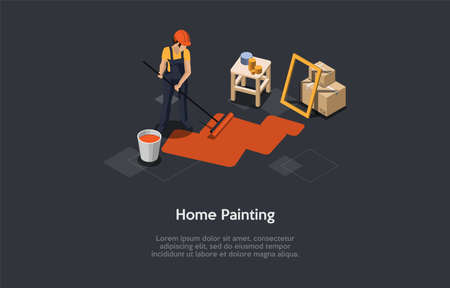 Vector Illustration In Cartoon 3D Style. Isometric Composition On Dark Background With Text. Home Painting Concept Design. Character In Dark Uniform Overall And Helmet With Big Brush Coloring Floor Illustration