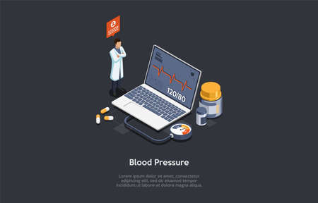Vector Illustration In Cartoon 3D Style. Isometric Composition On Dark Background With Text. Blood Pressure Measuring Concept Design. Male Character In White Robe Standing Near Laptop With Cardiogram