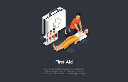 Vector Illustration In Cartoon 3D Style. Isometric Composition On Dark Background With Text. First Aid Concept Design With Two Characters. People, Big Medkit And Test Tubes. Medical Emergency Help