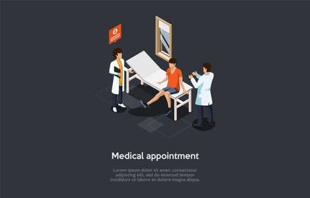 Vector Illustration In Cartoon 3D Style. Isometric Composition On Dark Background, Text. Medical Appointment With Doctor Concept Design. Three Characters, Hospital Interior. Boy At Healthcare Checkup