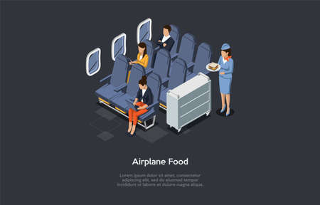 Vector Illustration In Cartoon 3D Style. Isometric Composition On Dark Background With Text. Airplane Nutrition Concept. Plane Interior, Different People Sitting At Chairs. Stewardess Carrying Food