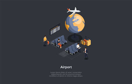 Airport Interior Composition. Vector Illustration, Cartoon 3D Style. Isometric Design With Writings, Dark Background. Group Of People Sitting Inside And Waiting For Flight. Plane Arrival And Departure