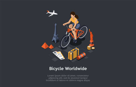 Bicycle Worldwide Travelling Conceptual Composition. Vector Illustration, Cartoon 3D Style. Isometric Design, Writings, Dark Background. Woman Character Ridding, Trip And Sightseeings Elements Around