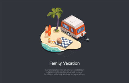 Family Vacation At Sea Conceptual Composition. Vector Illustration, Cartoon 3D Style. Isometric Design With Writings And Dark Background. Man In Swimwear Standing Near Child. Picnic Set, Van And Palms