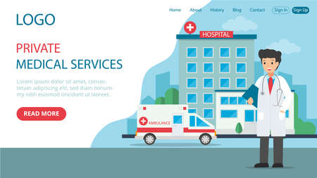 Vector Illustration In Flat Cartoon Style. Landing Web Page Layout Composition With Writings And Objects. Private Medical Services Idea Design. Doctor Character, Street And Hospital Background Behind Illustration