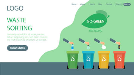 Vector Illustration In Flat Cartoon Style. Landing Page Layout Composition With Writings And Objects. Waste Sorting Idea Design With Green Background. Four Trash Bins And hands Tossing Litter Inside