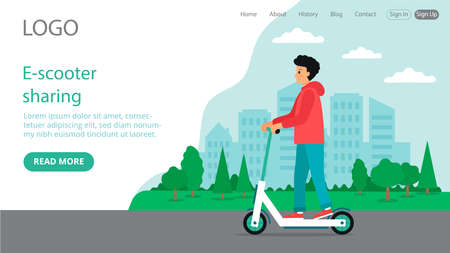 Vector Illustration In Flat Cartoon Style. Landing Web Page Layout Composition With Writings And Objects. E-scooter Sharing Ideas Design. Young Male Character Riding Scooter, Cityscape Background