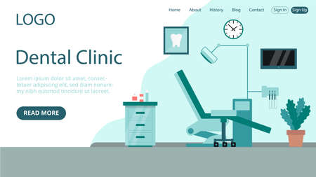 Vector Illustration In Flat Cartoon Style. Landing Web Page Layout Composition With Writings And Objects. Dental Clinic Idea Design. Hospital Cabinet Interior With Chair, Instruments. Blue Background