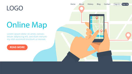 Landing Page Template Composition. Flat Cartoon Style Illustration With Text And Objects. Online City Map Concept Art. Two Hands Holding Smartphone With Navigator GPS On Screen. Writings And Buttons