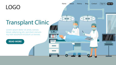 Landing Page Template Composition. Flat Cartoon Style Illustration With Text, Characters. Medical Transplant Clinic Concept Art. Two Hospital Workers In Robes Standing Near Lying Patient While Surgery Illustration