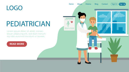 Landing Page Template Composition. Flat Cartoon Style Illustration With Text And Characters. Pediatrician Concept Art. Hospital Interior, Characters. Female Doctor In White Robe Standing Near Patient