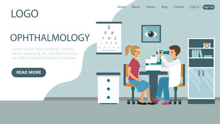 Ophthalmology Clinics Vector Illustration. Flat Style Conceptual Composition. Webpage Landing Template Design With Objects And Text. Hospital Cabinet Interior, Doctor In White Robe Testing Patient Illustration